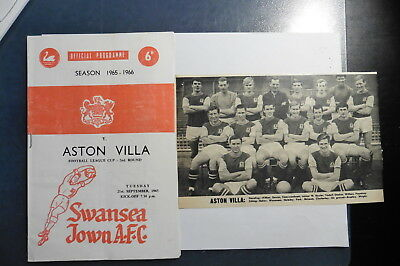 1965 Swansea Aston Villa League Cup 2nd Round 1965-66 + Villa picture cutting