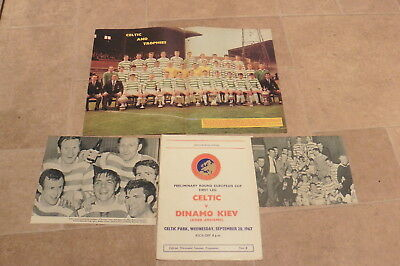 1967 Celtic Dinamo Kiev European Cup +picture cuttings 20/09/67 1967-68 Dynamo