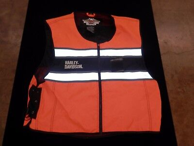 HARLEY DAVIDSON MOTORCYCLE ORANGE RIDING SAFETY REFLECTIVE Mesh VEST SZ XL - 3XL