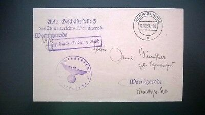 Third Reich 1937 envelope with scarce cancels and seal with original letter