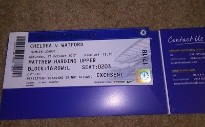 Chelsea v WATFORD.Used ticket stub.21/10/17.exc