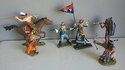 Vintage LINEOL - Elastolin toy soldiers U.S.Cavalry and Indians  made in Germany