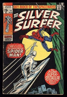 Silver Surfer (1968) #14 1st Print Spider-Man Vs Silver Surfer Lee Buscema GD/VG