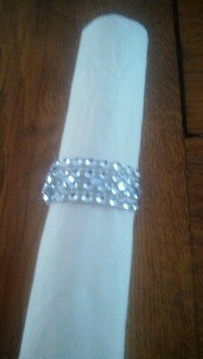 Silver Diamante mesh napkin rings set of 8 for Christmas ,Weddings etc.