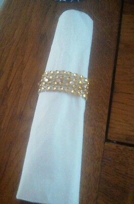 Gold Diamante mesh napkin rings set of 8 for Christmas ,Weddings etc.