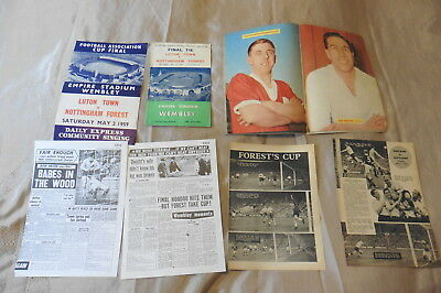 1959 Luton v Nottingham Forest FA Cup Final +songsheet +clippings 02/05/59