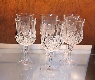 Set of 6 CRISTAL D'ARQUES Longchamp Water Wine Goblet 24% Lead Crystal  7 1/4""
