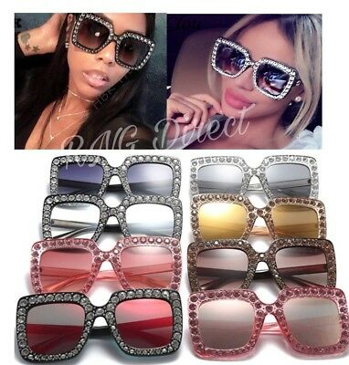 NEW Oversized Square Frame Bling Rhinestone Sunglasses Women Fashion Shades 2018