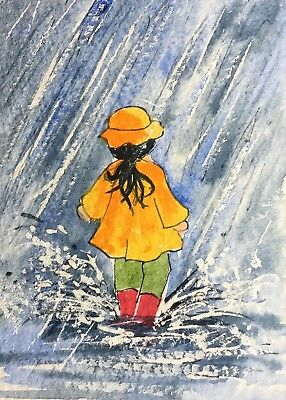 Original Art Small ACEO painting watercolour Puddle Jumping by Pamela West