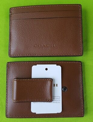 New Authentic Men's Coach Money Clip Card Case Leather F75459 in Dark Saddle.