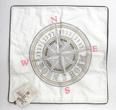 """NEW Pottery Barn TEEN Junk Gypsy Born To Roam Compass 18"""" Pillow Cover"""