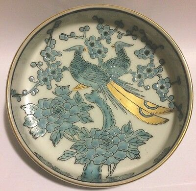 GOLD IMARI Hand Painted Porcelain Dish - Blue Peacocks With Gold Tails & Flowers