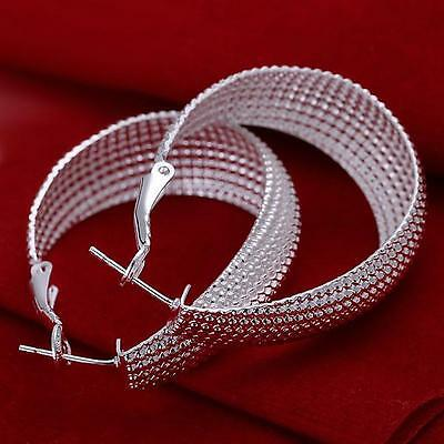 New Hot  Gift Ladies Women 925 Solid Silver Big Loop Fashion Earrings