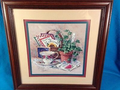 "Barbara Mock Framed Matted Teacup Gardening Seeds Plant Picture Colorful 14""x14"""
