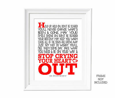 Song Lyrics Oasis Stop Crying Your Heart Out  Lyric Poster Typography Design