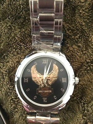 NEW Harley-Davidson Mens Logo Wings Analog  Silver Stainless Steel Watch