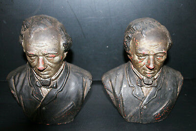 Very Rare Antique Victorian Pair Of Clay Mantel Heads Mid 19th C