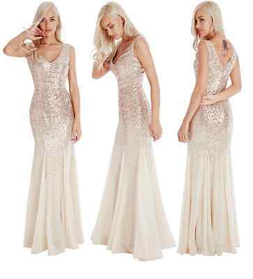 Goddiva Champagne Gold Sequin Chiffon Maxi Evening Dress Wedding Bridesmaid Prom