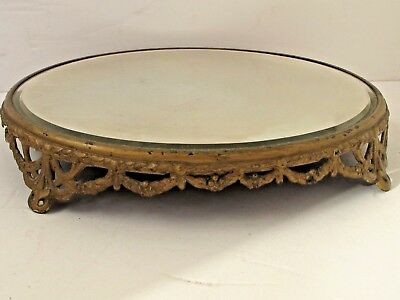 "Antique 13"" Round Beveled Edge Mirror Plateau Raised Feet"