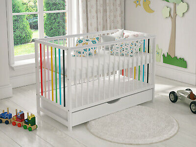 Convertible Cot Bed White Wooden Toddler Baby Bod with Deluxe Aloe Vera Mattress