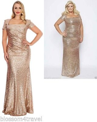 Gemma Collins Style gold/champagne sequin square long evening dress gown Towie