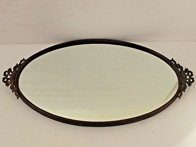 Antique French Brass Mirrored Oval Dresser Tray