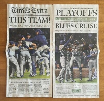 🏆 2017 October 20 Newspaper: Los Angeles Times: LA Dodgers NLCS World Series