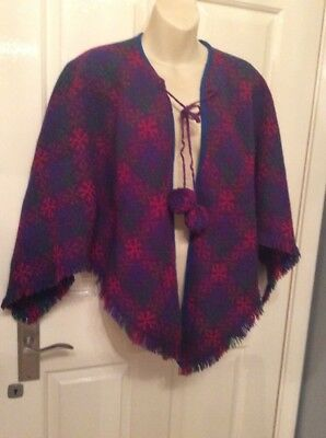 Vintage 60s Shoulder Cape Welsh Wool 1960s Fringed, With Pom Pom ,MOD Sz 12, 14