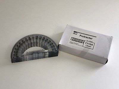 Charles Leonard Inc. Protractor, 4 Inch Open Center, Clear Plastic, 12 per pack