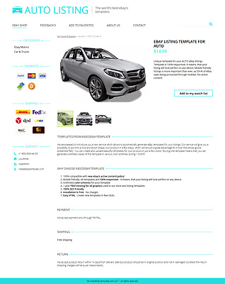 Car Automotive Style Sale eBay Listing Template for New Rules