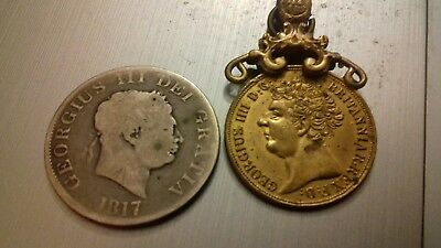 vintage coins 2 Georgius 111 and 1111  1817 and 1823  PLEASE READ MY MESSAGES