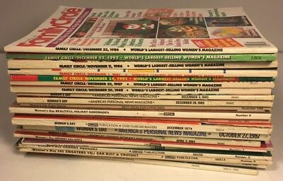 Vintage Lot of 21 Woman's Day & Family Circle Magazines 1974-1992