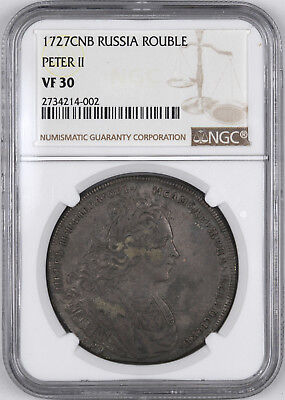 1727 CNB Russia Rouble Peter II - NGC VF30 -
