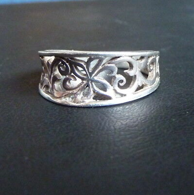 Sterling Silver Openwork Ring with Scrolling Floral Motif 925