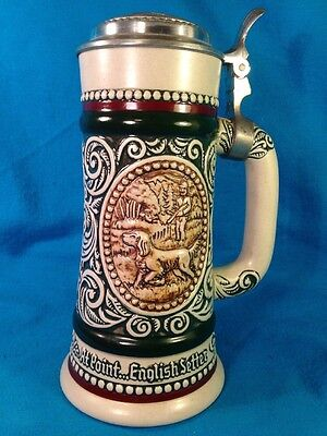 Cremarte Lidded Stein Handcrafted Brazil Avon 1978 Hunter Dog Fisherman