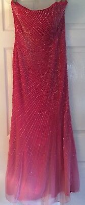 Alyce Designs - Full Length Silk Beaded Pink Gown - Size 16