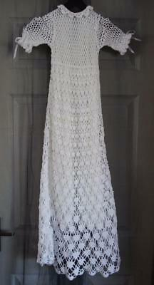 Christening Gown - Crochet - Long - Mid Century - Lined     Vbc/7