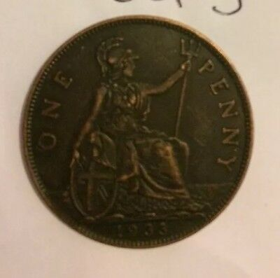 RESTRIKE 1933 One Penny Rare George V Coin Collector Uk