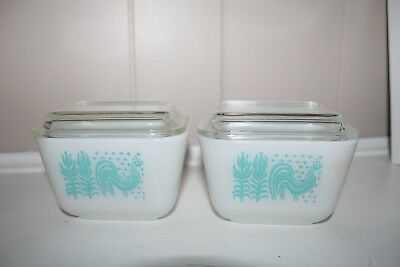 2 VINTAGE 1950 Pyrex Turquoise Amish Butterprint Refrigerator Dish Lids Rooster