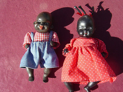 """Vtg Black Americana Bisque Porcelain??? Boy & Girl Baby Doll with Clothes 5.5"""""""