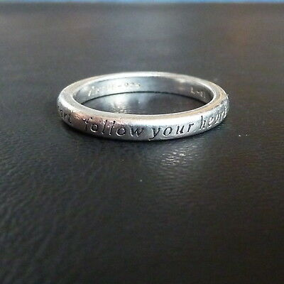 Virtue London Sterling Silver 'Follow Your Heart' Ring Size M