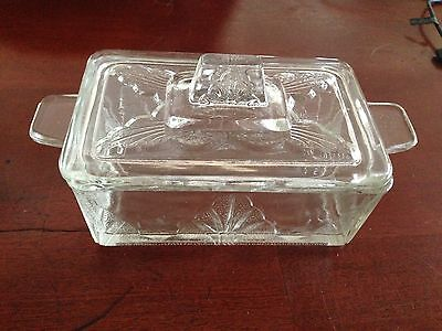 Vintage Clear Glass Storage Dish - Made in England - RARE !!