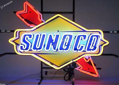 "24""X24"" New SUNOCO RACING FUEL DECAL GAS MOTOR OIL PUMP STATION NEON LIGHT SIGN"