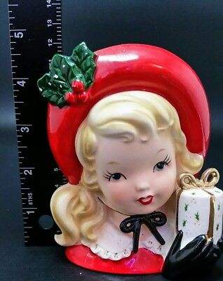 BEAUTIFUL Vintage Inarco Christmas Lady Head Vase #45