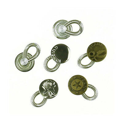 Pack of 6 Brass Metal Flexible Extenders Buttons For Jeans Collar Dress Neck Tie