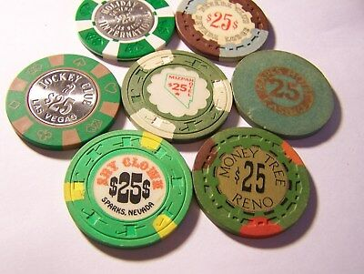 7-Nevada Card Room, $25 Poker Chips, See Narrative & Photo's. #a28