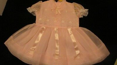 Vintage Pink Organdy with Lace Party Dress & Attached Slip