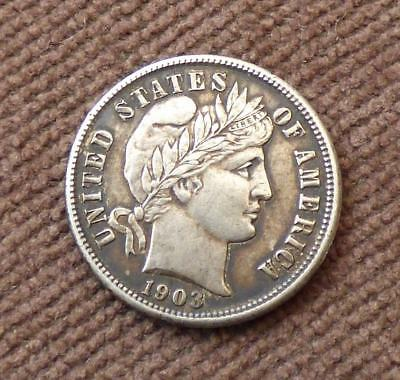 1903 BARBER SILVER DIME, USA - GVF, Good Very Fine Condition