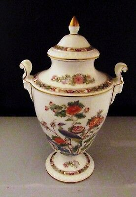 Wedgwood Kutani Crane Bone China Urn with Lid & Ram Head Shaped Handles