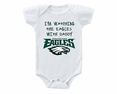 Philadelphia Eagles Watching With Daddy Baby Onesie or Tee Shirt